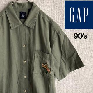 ギャップ(GAP)の90s OLD GAP 半袖 刺繍 オープンカラーシャツ オールド ギャップ S(シャツ/ブラウス(半袖/袖なし))