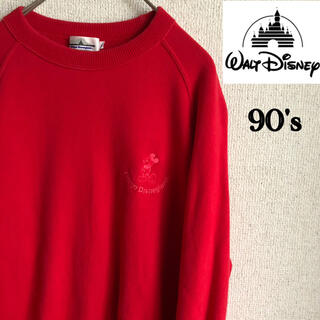 ディズニー(Disney)の90s Disney mickey スウェット トレーナー レッド L ミッキー(トレーナー/スウェット)