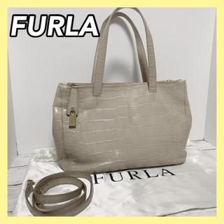 フルラ(Furla)のFURLA フルラ 2way ショルダーバッグ クロコ型押し 正規品 保存袋付き(ショルダーバッグ)