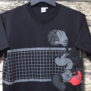 ミッキーマウス(ミッキーマウス)のミッキーマウス Tシャツ L ディズニー バレー 丸首半袖 ポリシャツ ブラック(Tシャツ/カットソー(半袖/袖なし))