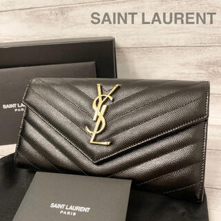 Saint Laurent - イヴ・サンローラン✨SAINT LAURENT✨キャビアスキン✨フラップ✨長財布