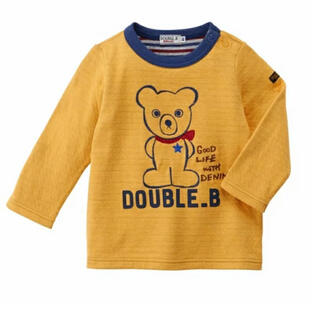 ダブルビー(DOUBLE.B)の★ダブルB★手書き風★長袖Tシャツ★130★ミキハウス★日本製★新品★紺色★(Tシャツ/カットソー)