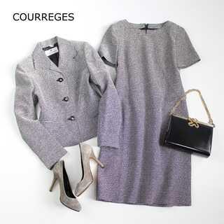 クレージュ(Courreges)のクレージュ★9AR(M) ウール混 ツイード フォーマルスーツ 式典 黒系(スーツ)