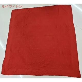 ルイヴィトン(LOUIS VUITTON)のルイヴィトン 良品 スカーフ ストール 大判 レッド LV ロゴ 正規品(ストール/パシュミナ)