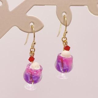 小さなあじさいクリームソーダのピアス  ピンクと紫(ピアス)