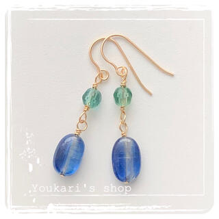 【天然石】カイヤナイトのピアス 14kgf(ピアス)