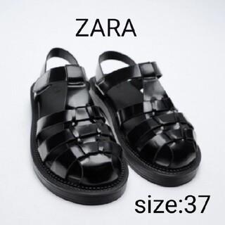 ZARA - 【美品】ZARAフラットケージサンダル37/グルカサンダルブラック
