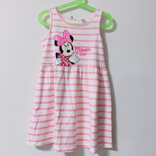 ディズニー(Disney)の着用1回 美品!110 ワンピース ミニーちゃん ピンク ボーダー ディズニー(ワンピース)