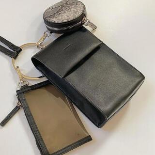 しまむら - マルチショルダーバッグ 3連 ブラック 中黒 新品未使用