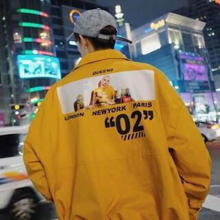 カジュアル コーチジャケット ブルゾン【イエロー/Lサイズ】 男女兼用(ナイロンジャケット)