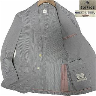 エディフィス(EDIFICE)のJ5203美品 エディフィス COOLMAX サマー テーラードジャケット灰46(テーラードジャケット)