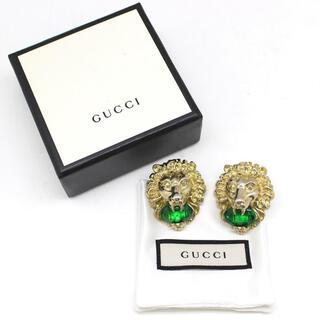 グッチ(Gucci)のGUCCI ライオンヘッド イヤリング ゴールド色 × グリーン(イヤリング)