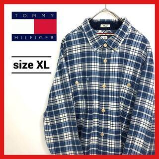 トミーヒルフィガー(TOMMY HILFIGER)の90s 古着 トミーヒルフィガー BDシャツ オーバーサイズ チェック XL(シャツ)