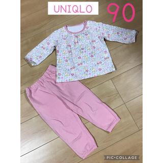 UNIQLO - 【少々汚れあり】ユニクロ 花柄 長袖パジャマ 90 女の子