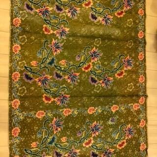 インドネシア オールド バティック  カーキ 花柄 ボタニカル カラフル(生地/糸)