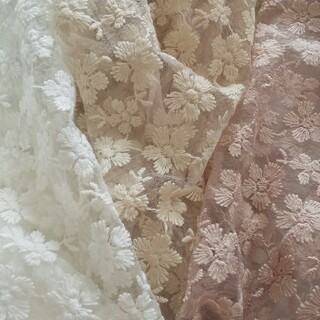 flowers レースチュール生地 《3色セット》各生地幅半分43×25cmづつ(生地/糸)