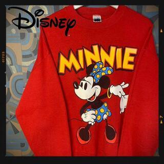 ディズニー(Disney)のディズニー 90s スウェット トレーナー ミニー 赤 USA製 レッド(スウェット)
