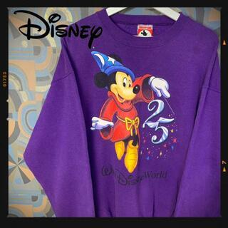 ディズニー(Disney)のディズニー 90s スウェット トレーナー 紫 ミッキー 魔法使いの弟子(スウェット)