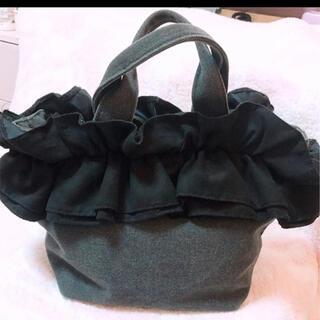 チャオパニックティピー(CIAOPANIC TYPY)のフリル キャンバストートバッグ 黒 ブラック(ハンドバッグ)