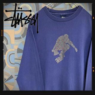 ステューシー(STUSSY)のオールドステューシー 00s ロンT スケボー モノグラム ネイビー 紫(スウェット)