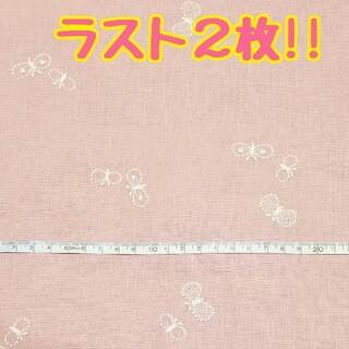 【刺繍-20】刺繍生地 コットンリネン ちょうちょ 蝶   ハンドメイド(生地/糸)
