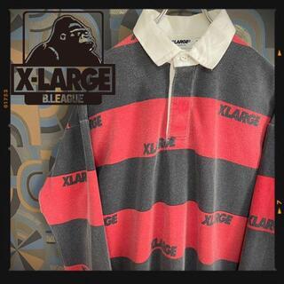 エクストララージ(XLARGE)のXLARGE ラガーシャツ 太ボーダー 赤黒 長袖ポロシャツ レアカラー(ポロシャツ)