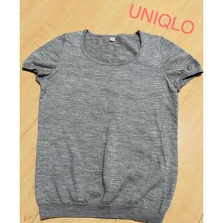 UNIQLO - ユニクロ◆未使用ラウンドネック半袖サマーニット・グレー・Mサイズ