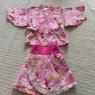 ディズニー(Disney)の女の子 ディズニー ミニー 甚平 浴衣 80 セットアップ キャミ 半袖(甚平/浴衣)