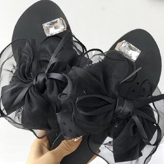 ザラ(ZARA)の新品気◆デザイナーファッションボリュームリボンサンダル(サンダル)