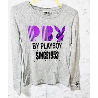 プレイボーイ(PLAYBOY)のプレイボーイ 長袖Tシャツ ロンT  グレー パープル(Tシャツ(長袖/七分))