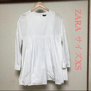 ZARA - ザラ 長袖デザインシャツワンピース XS ホワイト ZARA
