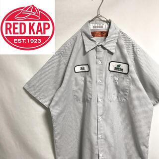 80's    レッドキャップ  半袖ワークシャツ ストライプ(シャツ)