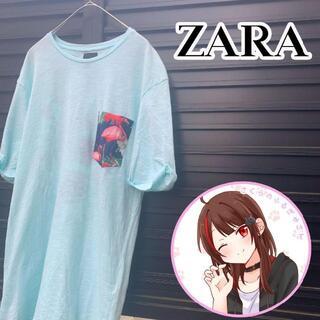 ザラ(ZARA)のZARA ザラアロハ柄 ポケットTシャツターコイズ × ネイビーL(Tシャツ/カットソー(半袖/袖なし))