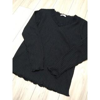 シマムラ(しまむら)のプチプラのあや×しまむら テレコニットPO ブラックLサイズ(ニット/セーター)