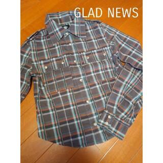 グラッドニュース(GLAD NEWS)のGLAD NEWS★チェックシャツ★グラッドニュースコットンシャツブラウンブルー(シャツ/ブラウス(長袖/七分))