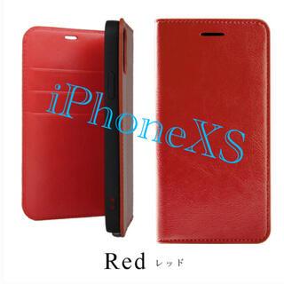 iPhonexs用 手帳型ケース 赤 マグネット不使用