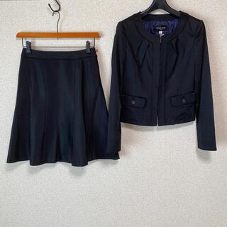 MICHEL KLEIN - ミッシェルクラン ノーカラー スカートスーツ 38 W68 DMW