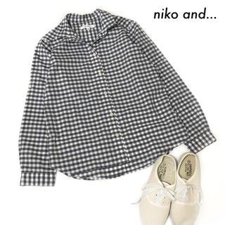niko and... - niko and… ニコアンド★ギンガムチェック柄 長袖シャツ チャコールグレー