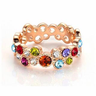 スワロフスキー(SWAROVSKI)の多彩水晶リング 透かし彫り 指輪 レディース スワロフスキークリスタル(リング(指輪))