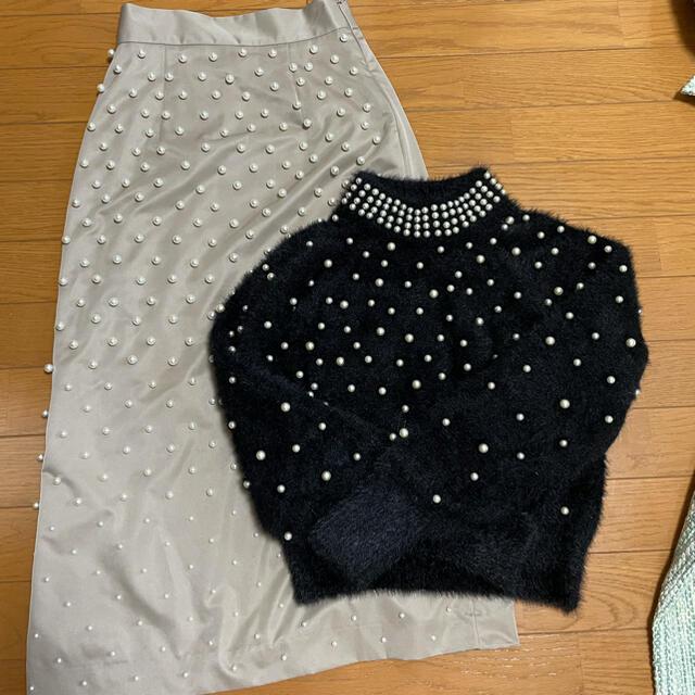 eimy istoire(エイミーイストワール)のパールニット、パールスカート レディースのトップス(ニット/セーター)の商品写真