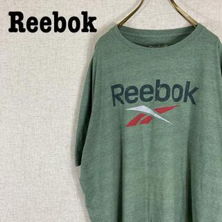 Reebok リーボック Tシャツ 半袖 カットソー ビッグロゴ くすみグリーン(Tシャツ/カットソー(半袖/袖なし))