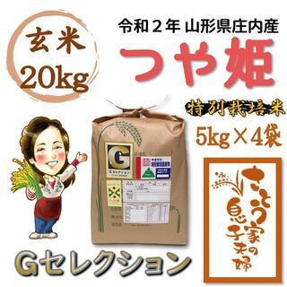 令和2年 山形県庄内産 つや姫 玄米20kg Gセレクション 特別栽培米(米/穀物)