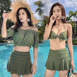 ★在庫処分★新品レディース 水着 3点セット ビキニ 可愛い 体型カバー女性水着