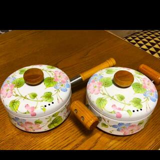 フジホーロー(富士ホーロー)のエジリー ホーロー  両手鍋 片手鍋 昭和 レトロ(鍋/フライパン)