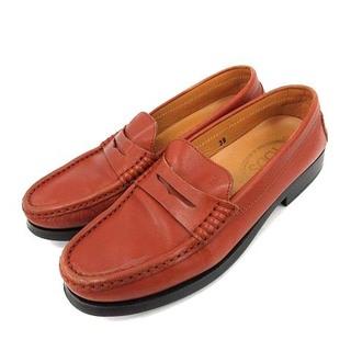 トッズ(TOD'S)のトッズ コインローファー ローヒール レザー 38 25.0cm 茶 ブラウン(ローファー/革靴)