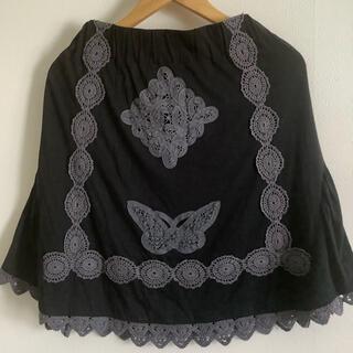 マザー(mother)のmother 台形 レーススカート 黒(ひざ丈スカート)