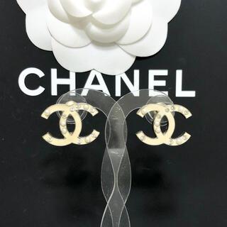 CHANEL - 正規品 シャネル ピアス ココマーク ラインストーン パール 真珠 ゴールド 金