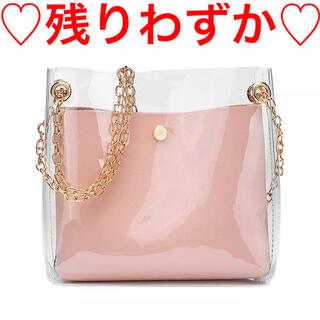ザラ(ZARA)のクリアバッグ ショルダーバッグ エナメル 透明 ポーチ ピンク 韓国ファッション(ショルダーバッグ)