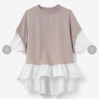 シマムラ(しまむら)のピンクページュシャツプルオーバーティアードシャツ(カットソー(半袖/袖なし))