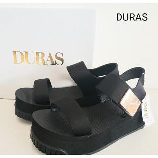 デュラス(DURAS)の新品★DURAS 厚底 サンダル 黒 ゴールド(サンダル)